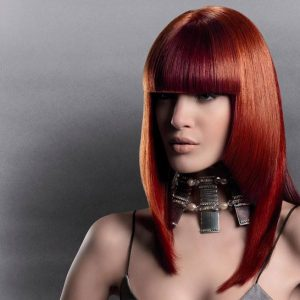 Copper color bobbed hair style